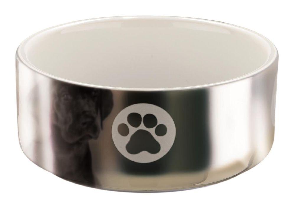 TrixieHundeskål Keramikk Sølv/Hvit 0,3L