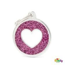 My family tag pink circle white heart