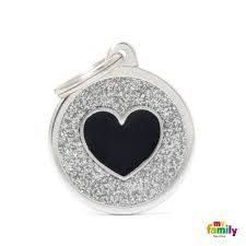 My family tag grey circle black heart