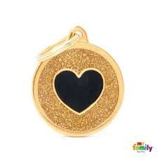 My family tag gold circle black heart