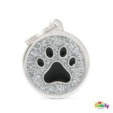 My family tag grey circle black paw