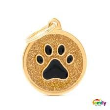 My family tag gold circle black paw
