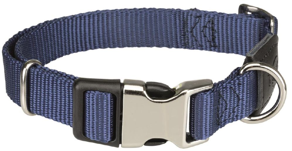 Halsbånd premium m/metallås M-L mørkblå