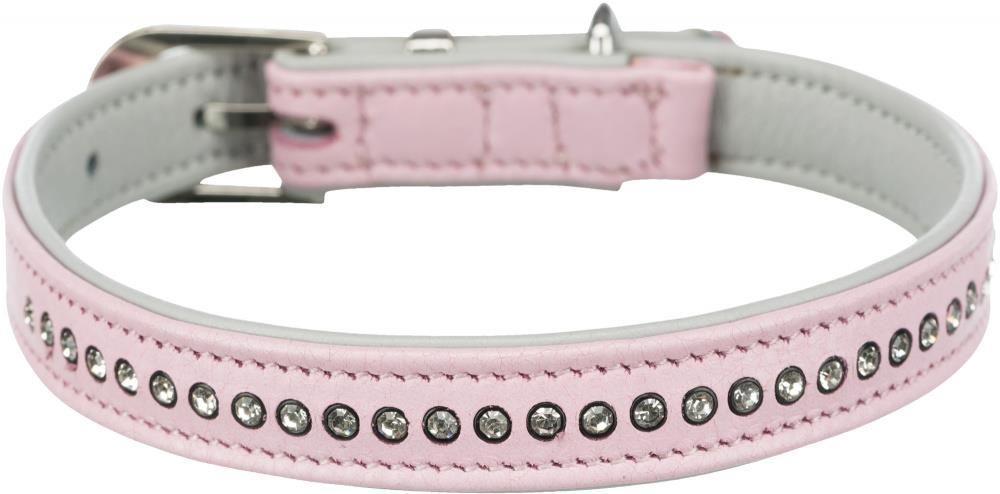 Halsbånd lær comfort rosa 27-33cm/15mm