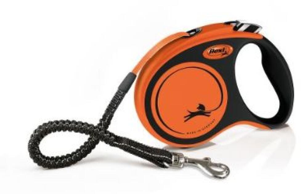 Flexi New Neon hundebånd Oransje L - 5m
