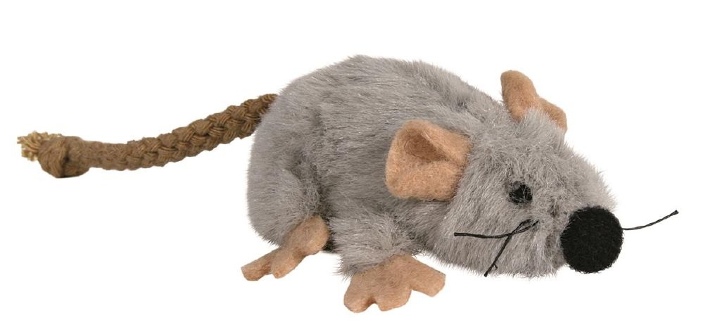 Katteleke Plysj Mus M/Catnip Grå